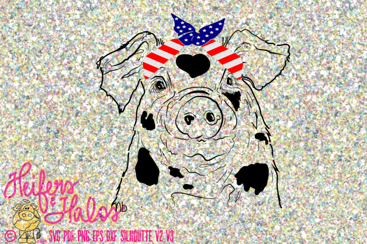 Pig with Flag Bandana Hand Drawn Digital Design