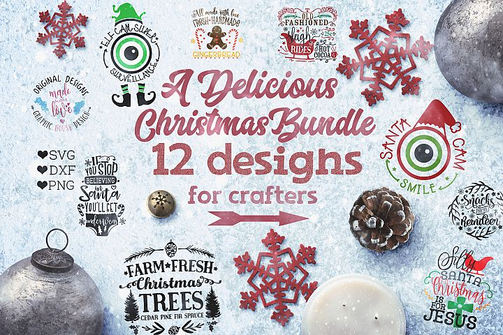 Christmas Bundle - Christmas Cut Files Bundle SVG, DXF, PNG