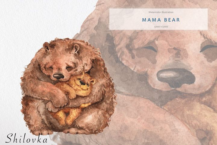 Mama bear. Watercolor illustration