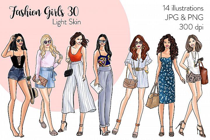 Fashion illustration clipart - Fashion Girls 30 - Light Skin