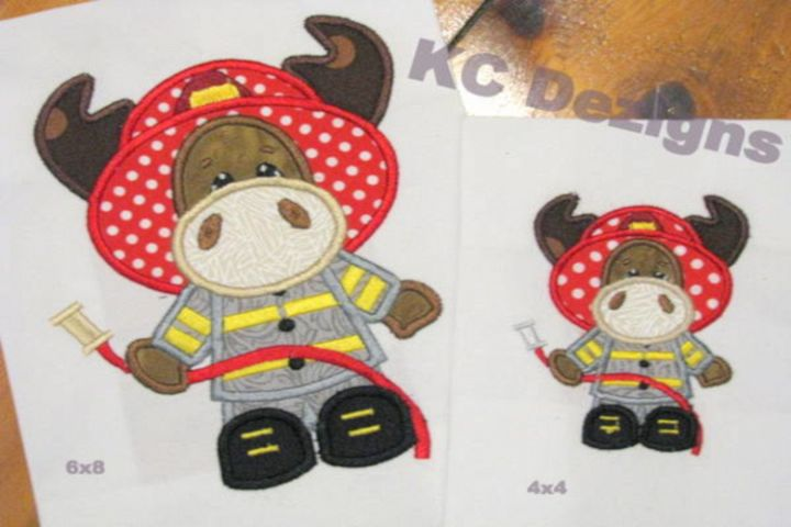 Moose Fireman Machine Applique Embroidery Design