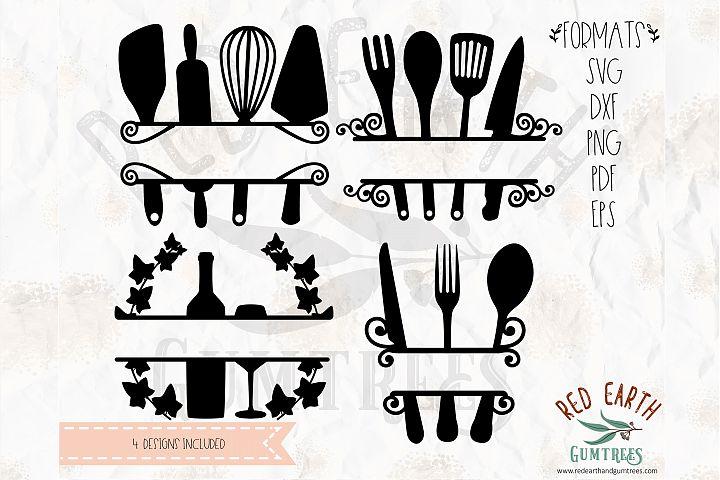 Kitchen, baking split frame bundle in SVG, DXF, PNG, EPS,PDF