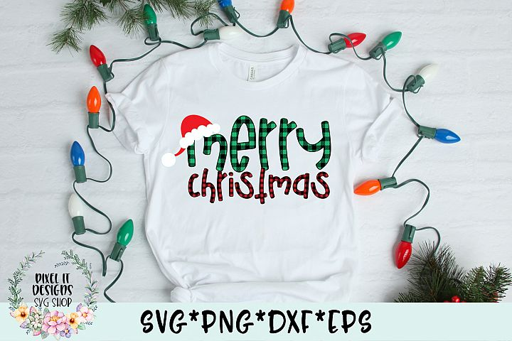 Merry Christmas Plaid SVG Cut File