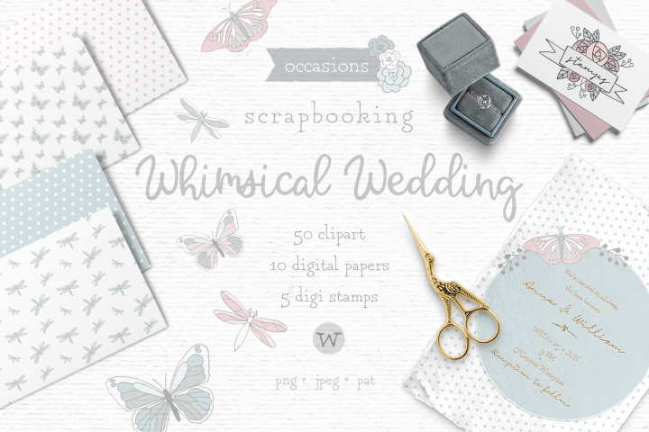 Wedding clipart, whimsical clipart, invitation clipart