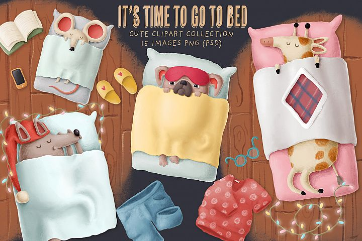 Sleeping animals clipart set