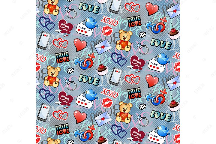 Seamless pattern with funny love elements for Valentines day