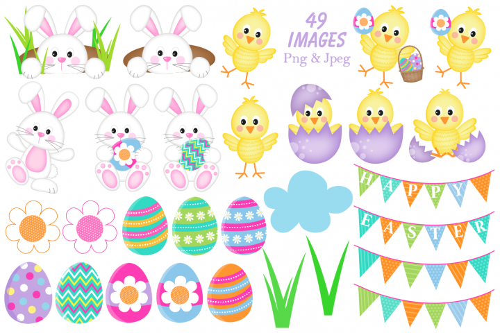 Easter clipart, Easter bunny graphics & illustrations - Free Design of The Week Design 2