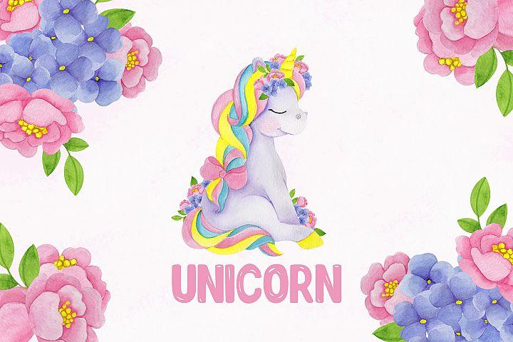 Unicorn. Cute watercolor