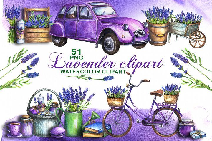 Watercolor lavender clipart