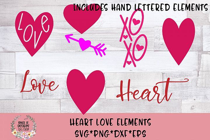 Heart Love Clipart Bonus Hand Lettered Designs SVG Cut File
