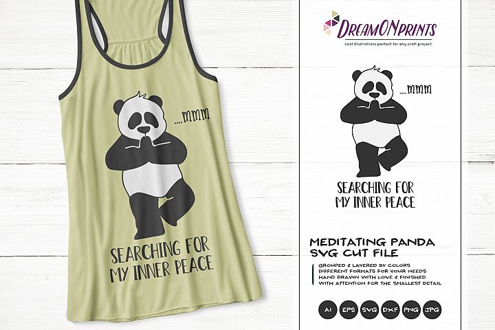 Funny Yoga Panda | Panda Bear SVG | Yoga Illustration