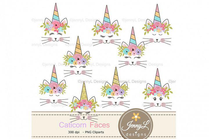 Caticorn Cat Faces Clipart SET