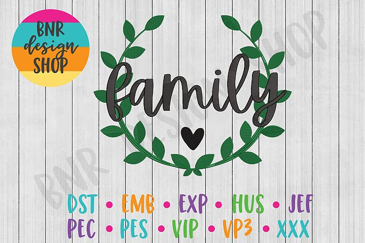 Family Machine Embroidery Design, Wreath Embroidery