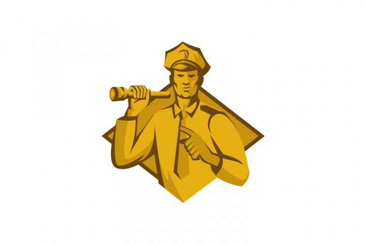 policeman police officer flashlight
