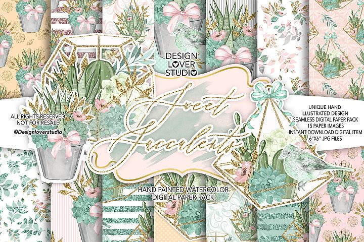 Sweet Succulent digital paper pack