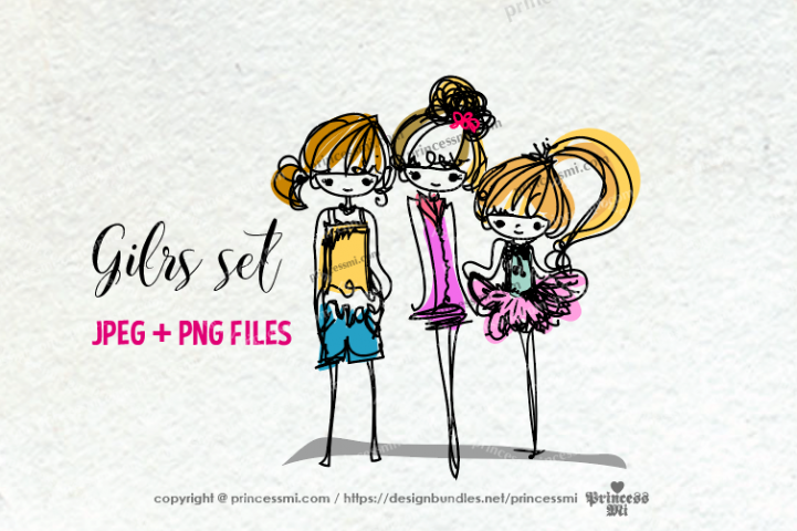 sketch style hand drawn girl clipart set , three girls