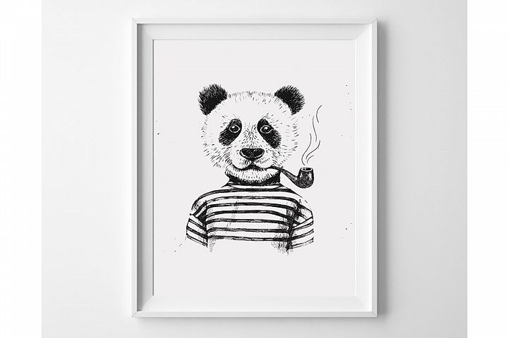 Hipster Panda Wall Art, Black and White Animal Prints