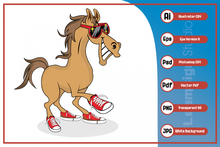 Horse cartoon smiling wearing sunglass and shoes character