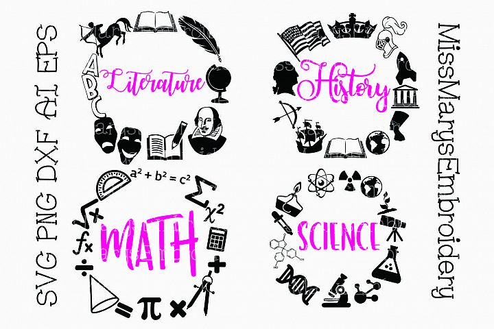 Four Subject School Frames SVG Cutting File PNG DXF AI EPS