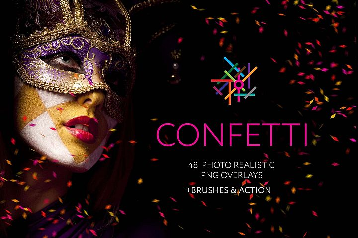 48 Confetti Photo Overlays