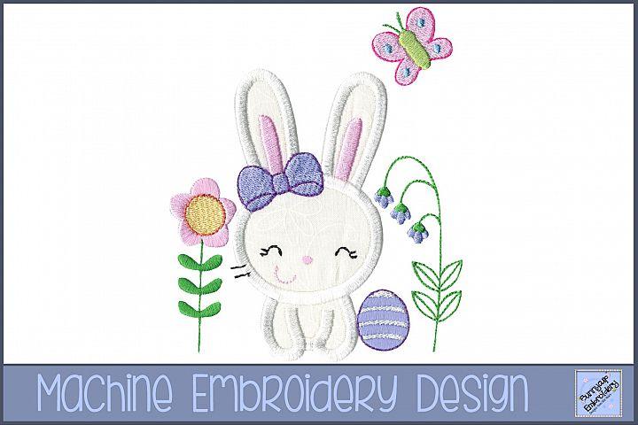 Easter Bunny Garden Applique Embroidery Design