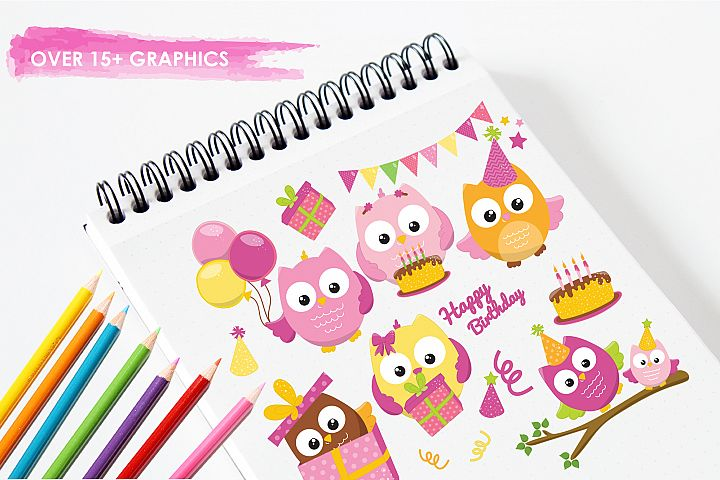 Birthday Owls Girls  graphics and illustrations - Free Design of The Week Design1