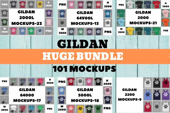 Gildan Huge Bundle Mockup|2000L|64V00L|2000|64000|5000L|2200
