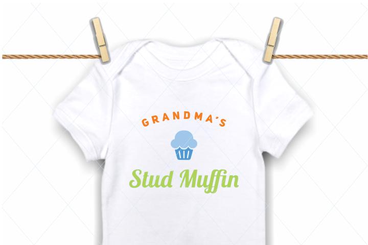 Grandmas stud muffin svg, baby onesie svg, handsome boy