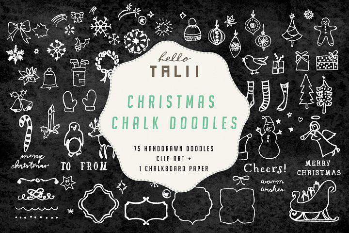 Christmas Chalk Doodles Clipart