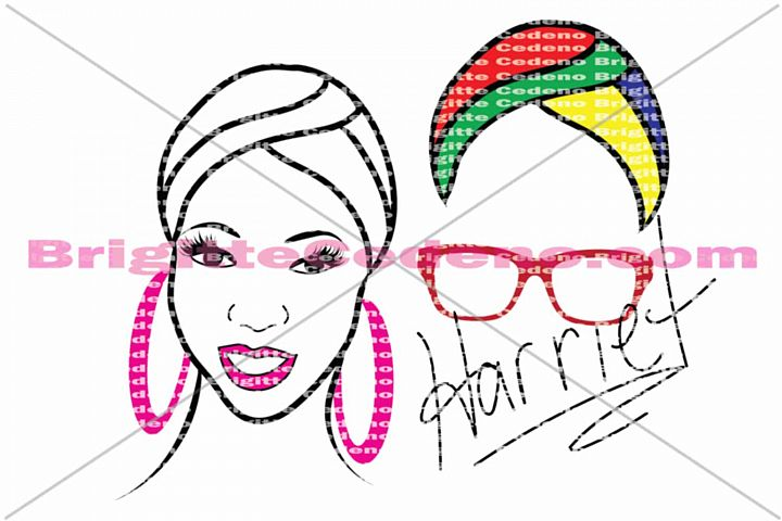 Harriet rocking a headwrap with large hoop earrings and glasses svg, png, jpeg, dxf file