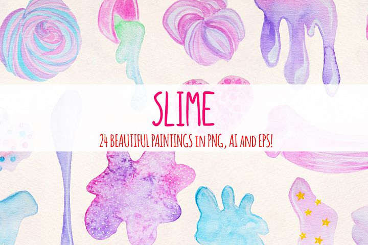 24 Fluffy Crunchy Slime Watercolor Graphics