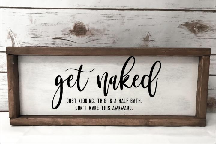 Get Naked Funny Bathroom Sign SVG