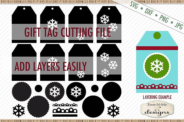 Snowflake Tag - Gift Tag Cut File - Layered Tags - SVG DXF