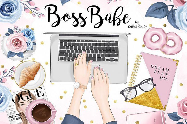Girl boss clipart Illustration, Planner Girl Stickers
