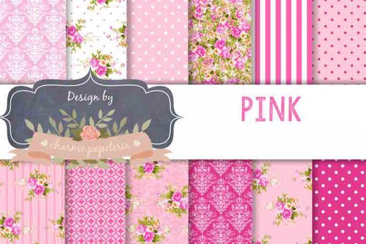Pink floral Digital Paper Wedding Background