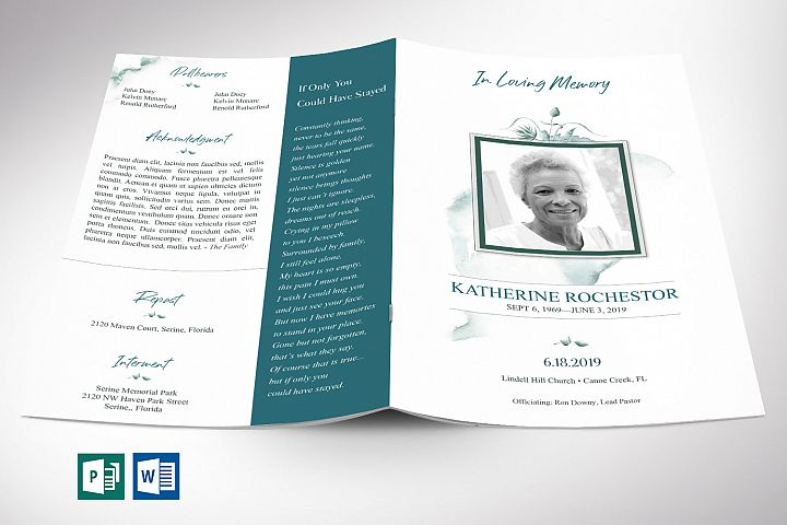 Blossom Funeral Program Word Publisher Template | 8 Pg