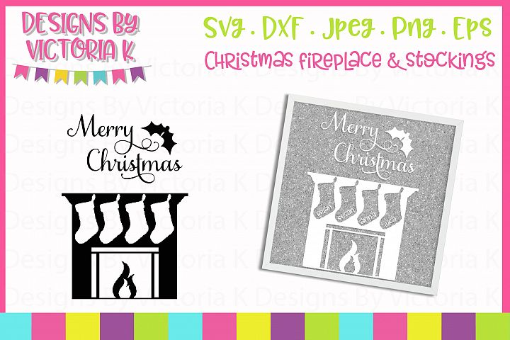 Christmas Fireplace, 4 Stockings SVG Cut File