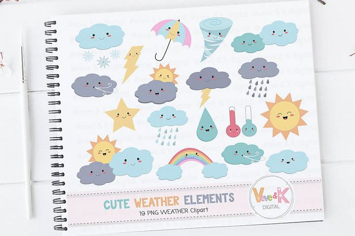 Weather Clipart, Cute Weather Clipart, Kawaii Weather Clipart, Rainbow Clipart, Rain, Rainbow, Weather Icons, Weather Graphics, Rain, Sun