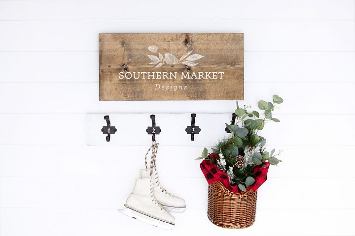 Christmas 12x24 Wood Sign Mock Up Styled Photography