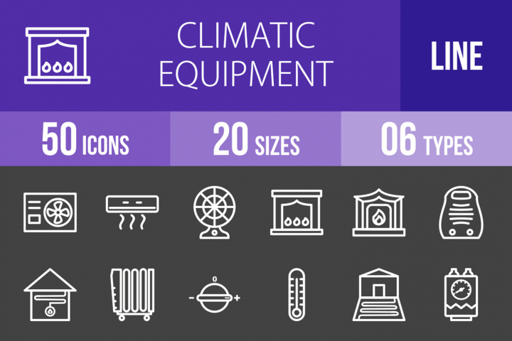 50 Climatic Equipment Line Inverted Icons