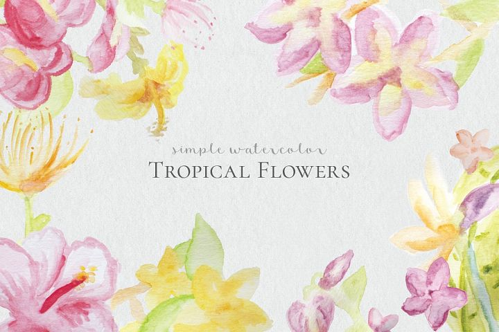 Watercolor Tropical Flowers