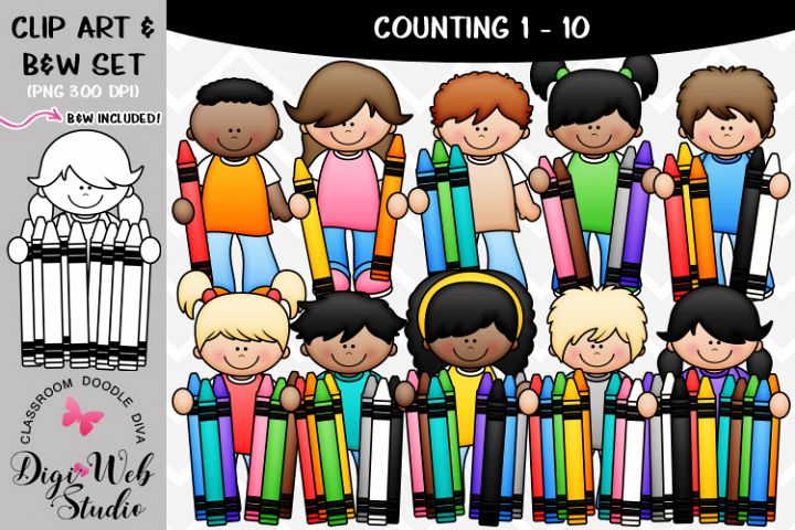 Clip Art / Illustrations - 1-10 Counting Crayons Kids