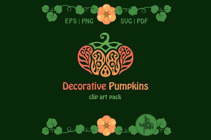 Swirly Pumpkins SVG, PNG, set of vector frames with pumpkins