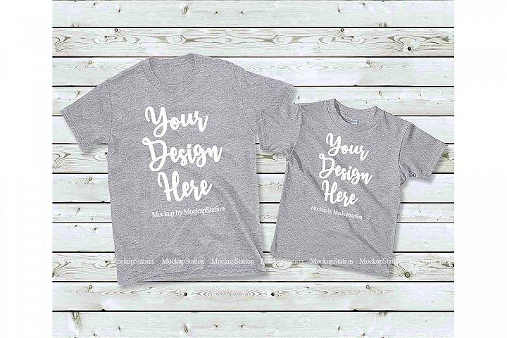 Matching Family T-Shirts Mockup, Parents Kids Shirt Flat Lay