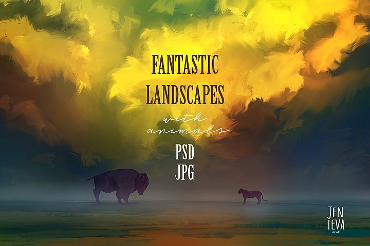 Fantastic landscapes with animals