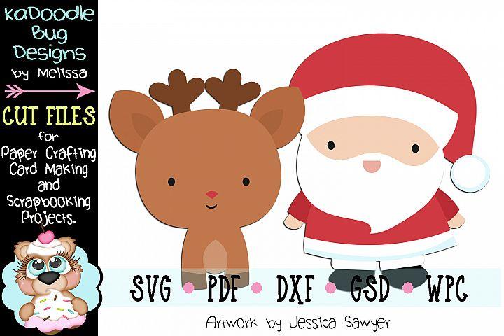 Kawaii Santa Reindeer Cut File - SVG PDF DXF GSD WPC