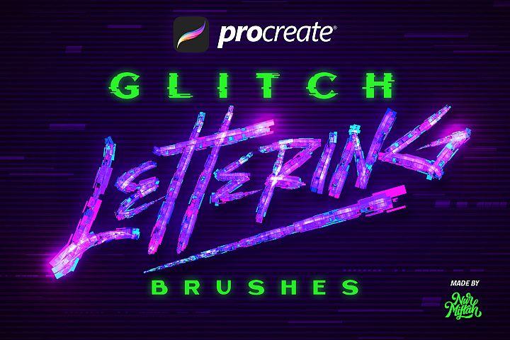 Procreate Glitch Lettering Brushes