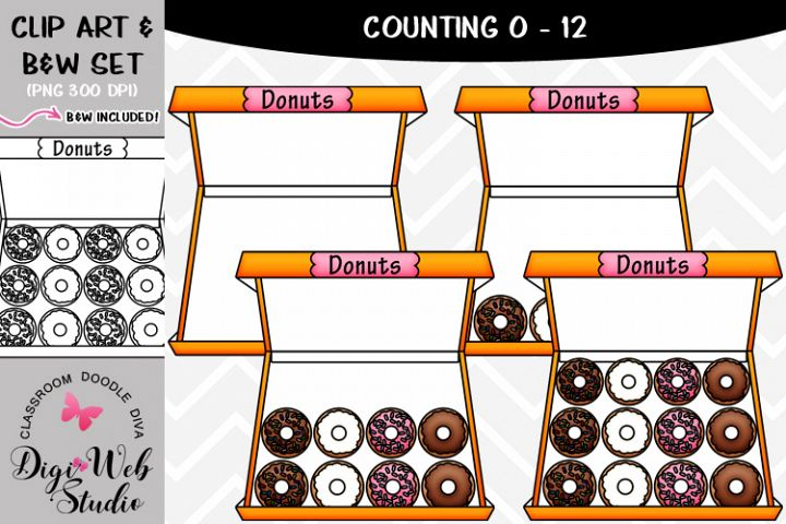 Clip Art / Illustrations - 0-12 Counting Donuts