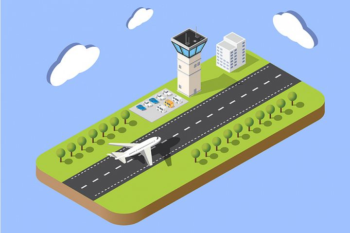 Isometric map of the city airport