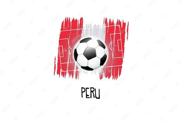 Football background with soccer ball. Team Peru.